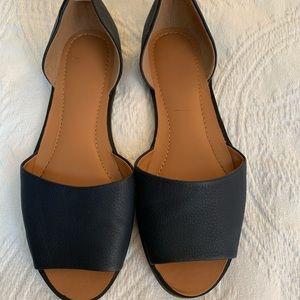 Shoes - Navy peep toe flats